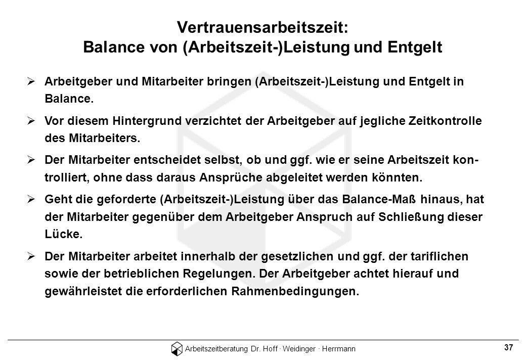Vertrauensarbeitszeit: Balance von (Arbeitszeit-)Leistung und Entgelt