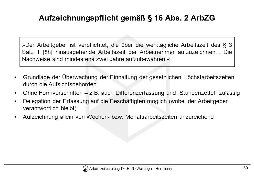 Aufzeichnungspflicht gemäß § 16 Abs. 2 ArbZG