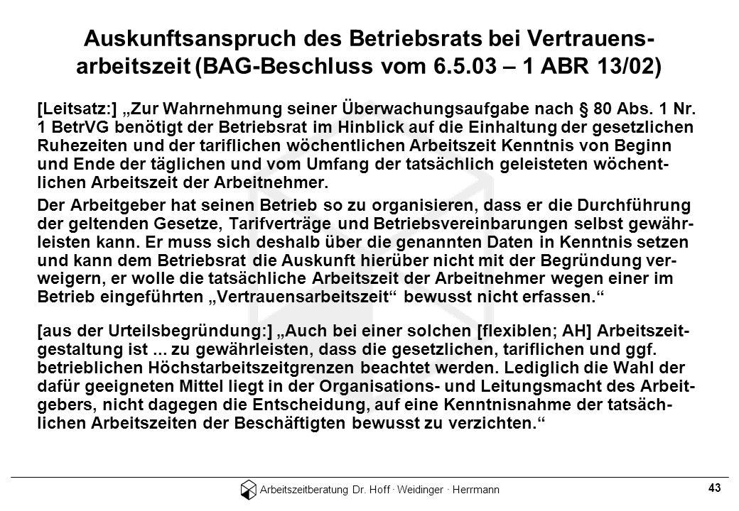 Auskunftsanspruch des Betriebsrats bei Vertrauens- arbeitszeit (BAG-Beschluss vom 6.5.03 – 1 ABR 13/02)