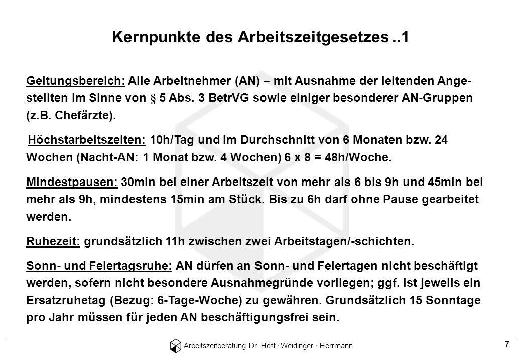 Kernpunkte des Arbeitszeitgesetzes ..1