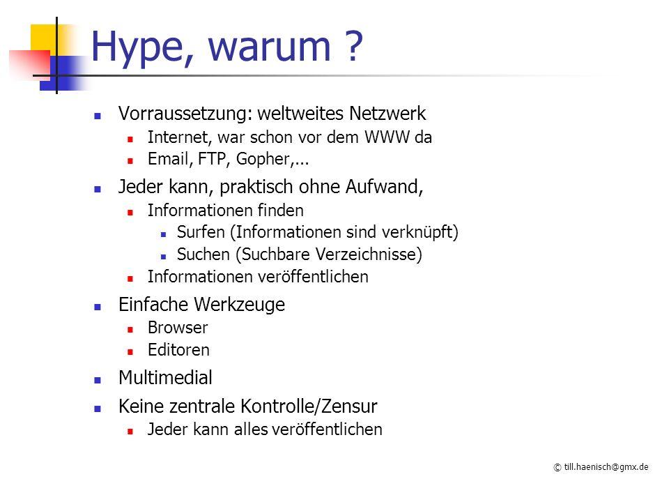 Hype, warum Vorraussetzung: weltweites Netzwerk
