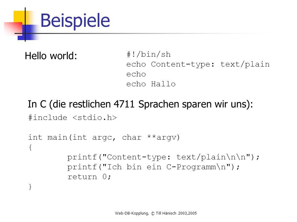 Web-DB-Kopplung, © Till Hänisch 2003,2005