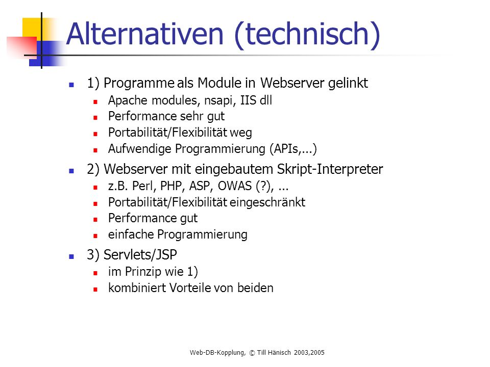 Alternativen (technisch)