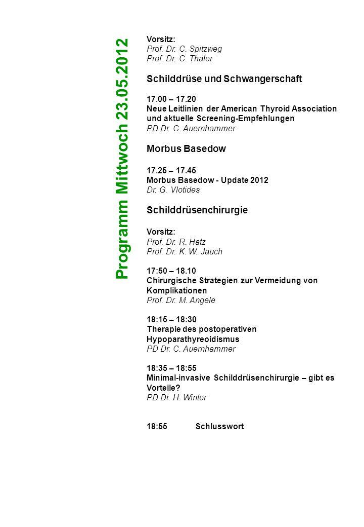 Programm Mittwoch 23.05.2012 Schilddrüse und Schwangerschaft