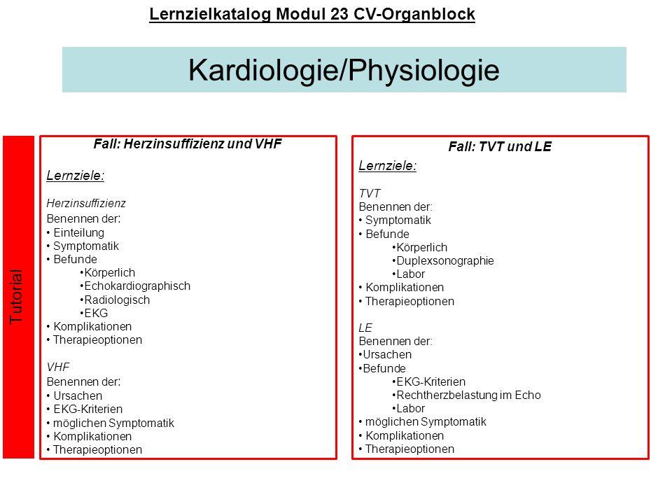 Lernzielkatalog Modul 23 CV-Organblock Fall: Herzinsuffizienz und VHF
