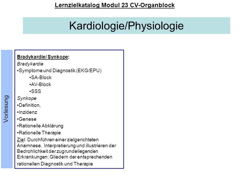 Lernzielkatalog Modul 23 CV-Organblock