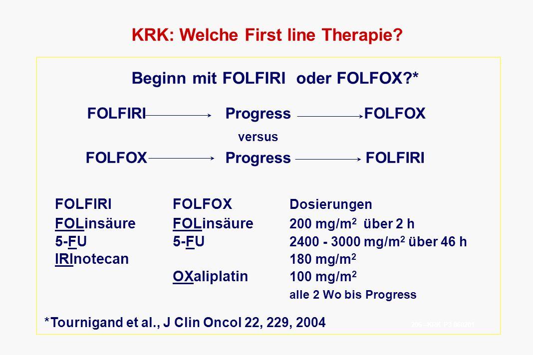 KRK: Welche First line Therapie Beginn mit FOLFIRI oder FOLFOX *