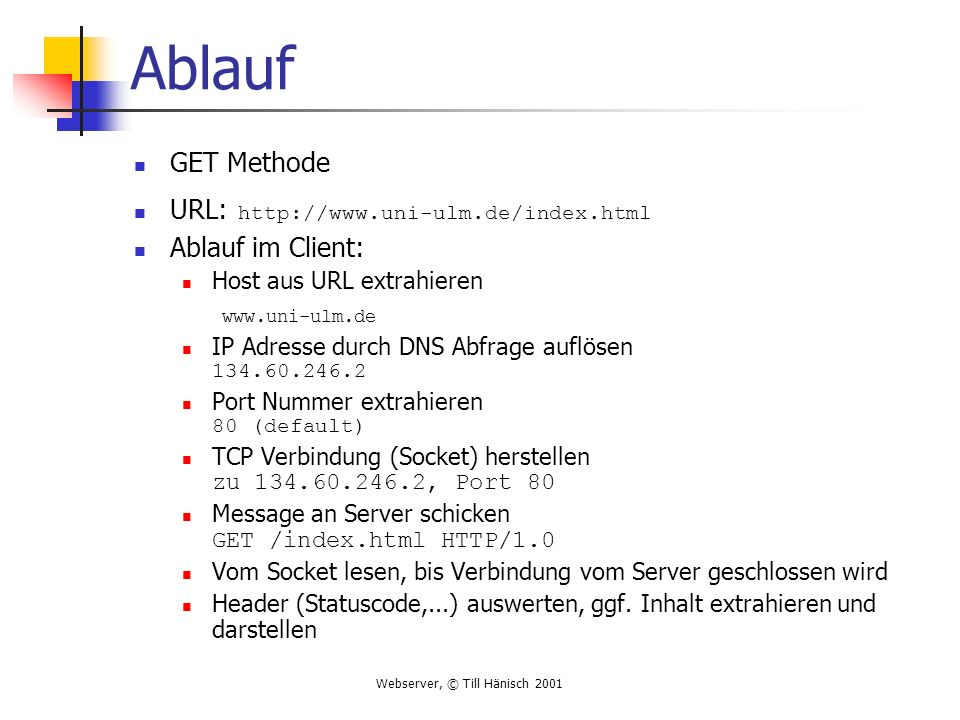 Ablauf GET Methode URL: http://www.uni-ulm.de/index.html