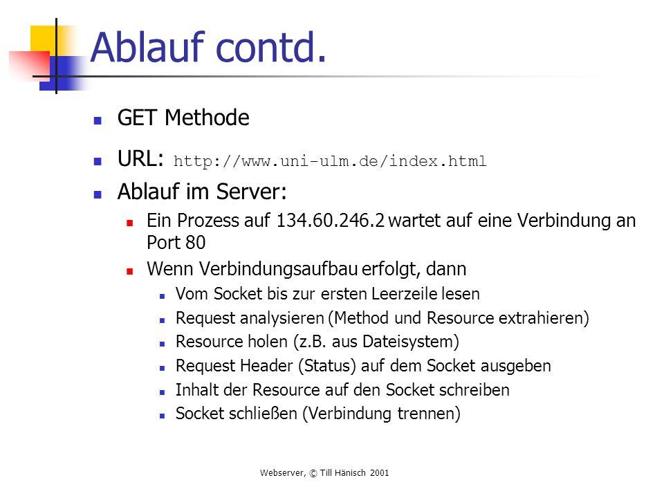 Ablauf contd. GET Methode URL: http://www.uni-ulm.de/index.html