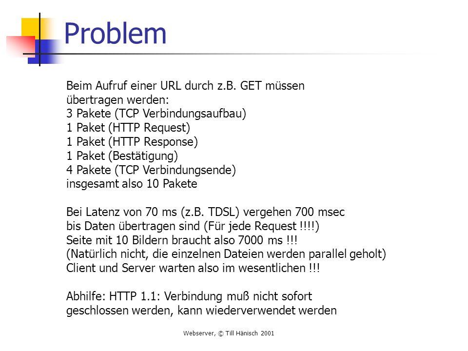 Problem Beim Aufruf einer URL durch z.B. GET müssen übertragen werden: