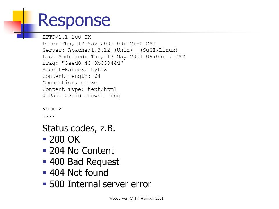 Response Status codes, z.B. 200 OK 204 No Content 400 Bad Request