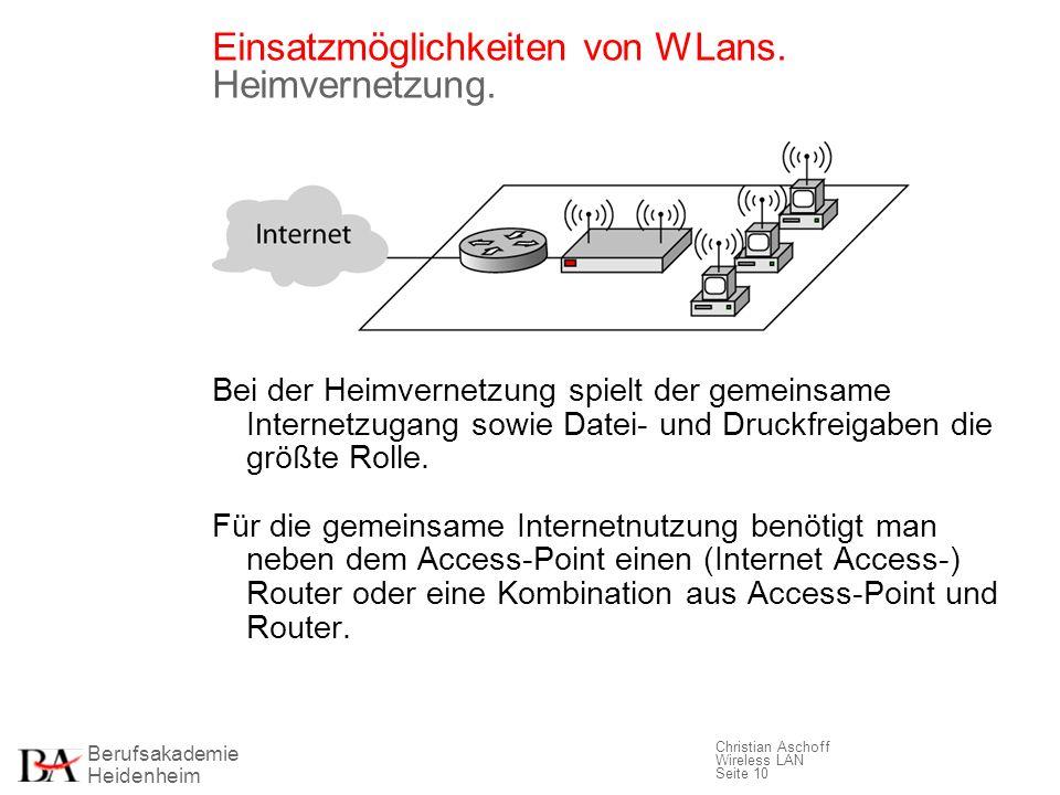 Einsatzmöglichkeiten von WLans. Heimvernetzung.