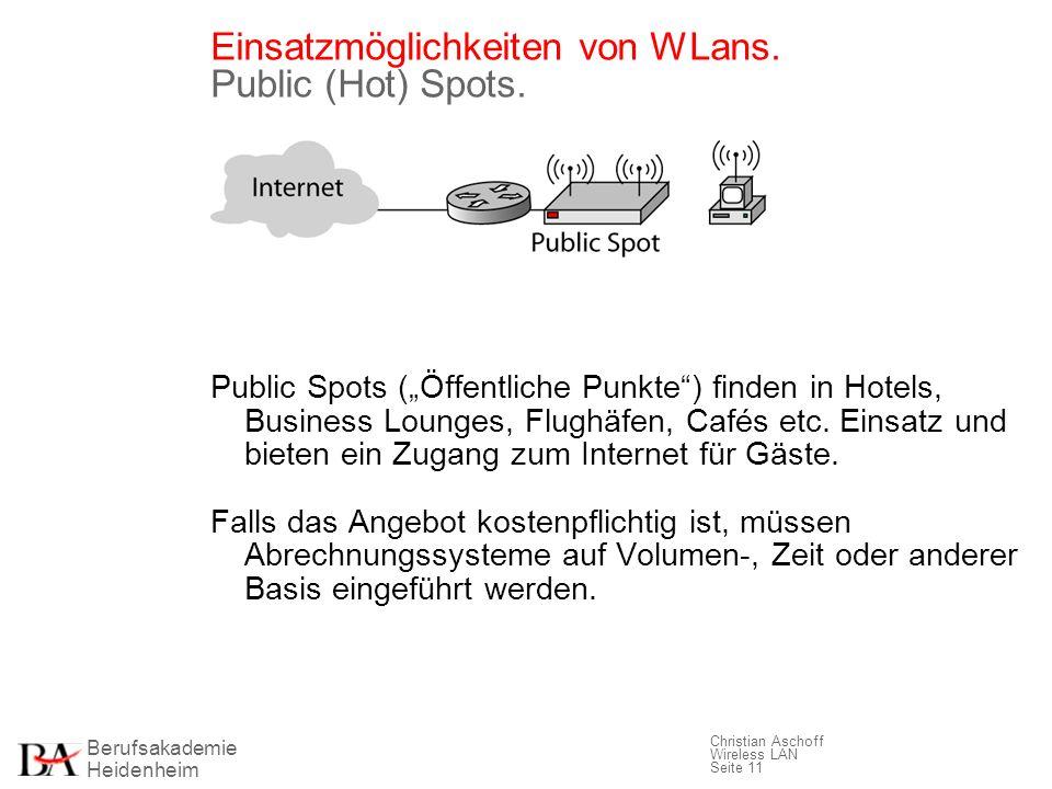 Einsatzmöglichkeiten von WLans. Public (Hot) Spots.