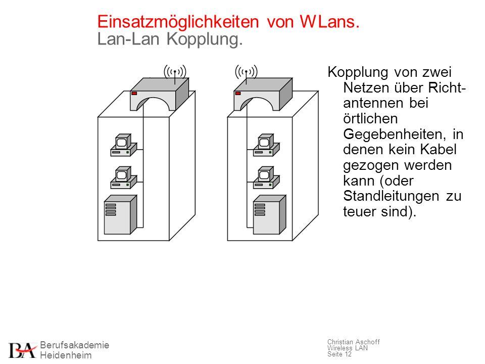 Einsatzmöglichkeiten von WLans. Lan-Lan Kopplung.