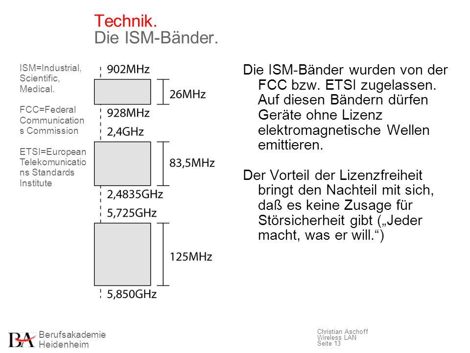 Technik. Die ISM-Bänder.