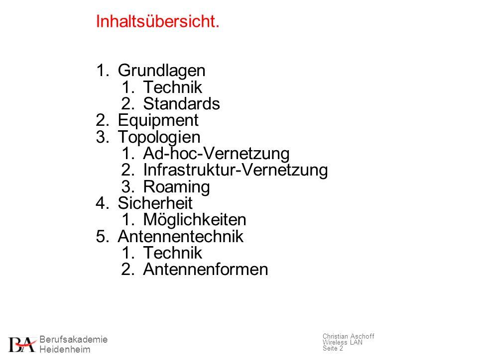 Inhaltsübersicht. Grundlagen. Technik. Standards. Equipment. Topologien. Ad-hoc-Vernetzung. Infrastruktur-Vernetzung.