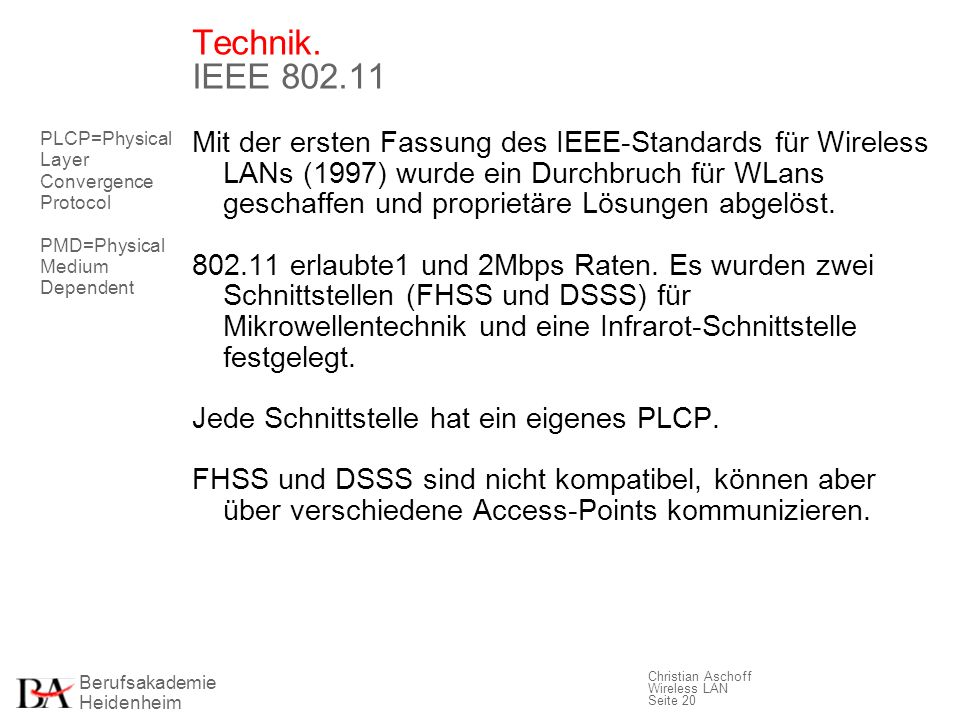 Technik. IEEE 802.11 PLCP=Physical Layer Convergence Protocol. PMD=Physical Medium Dependent.