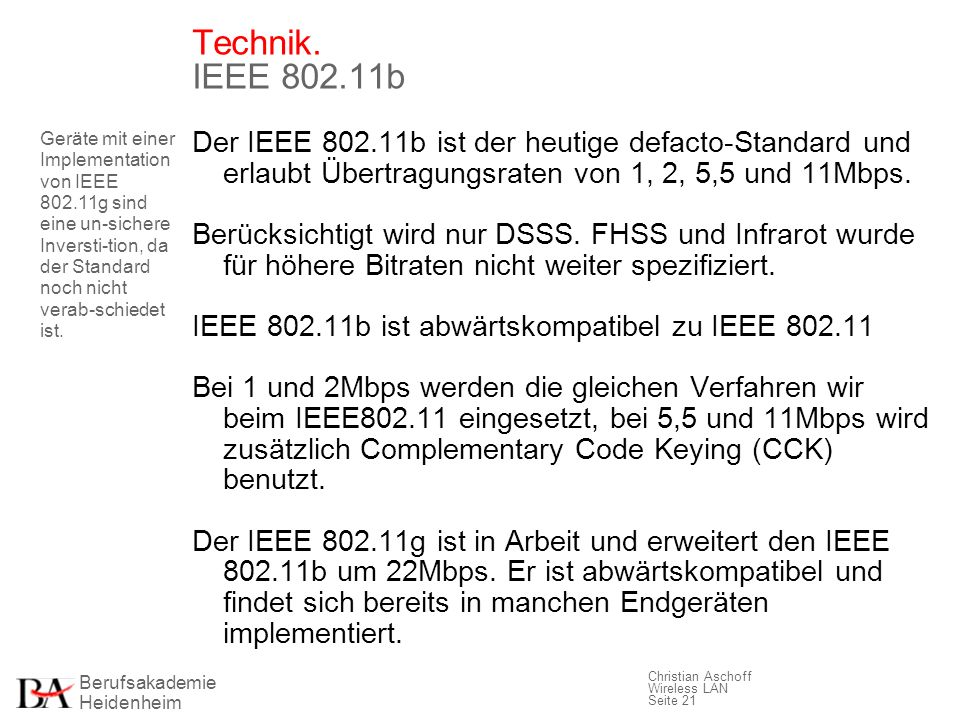 Technik. IEEE 802.11b