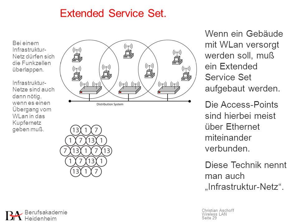 Extended Service Set. Wenn ein Gebäude mit WLan versorgt werden soll, muß ein Extended Service Set aufgebaut werden.