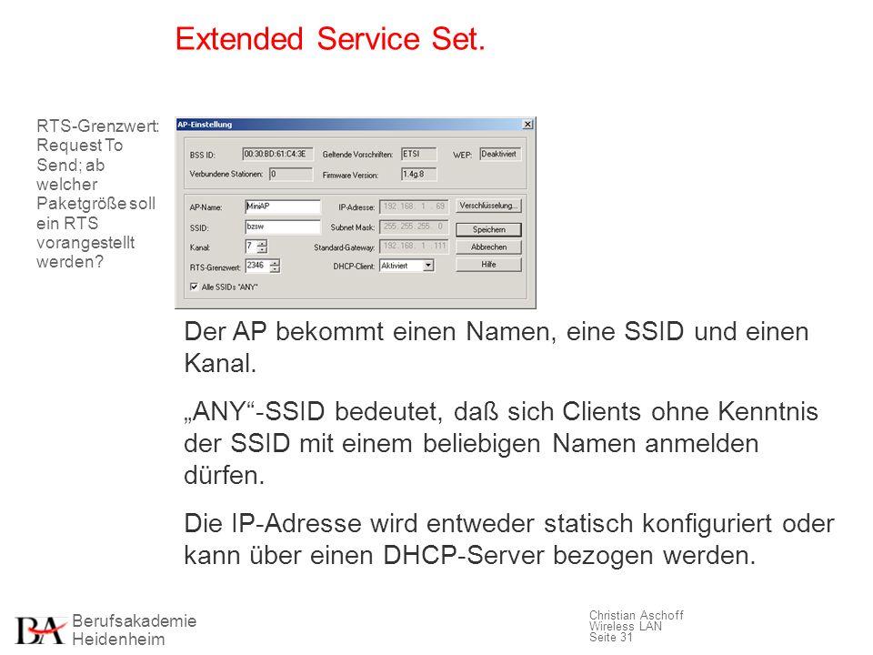 Extended Service Set. RTS-Grenzwert: Request To Send; ab welcher Paketgröße soll ein RTS vorangestellt werden