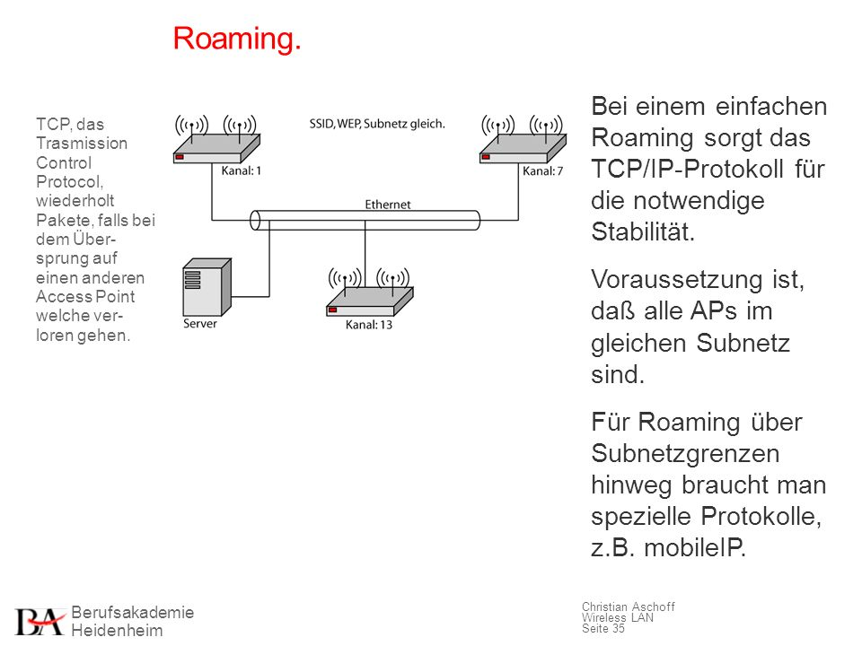 Roaming. Bei einem einfachen Roaming sorgt das TCP/IP-Protokoll für die notwendige Stabilität.