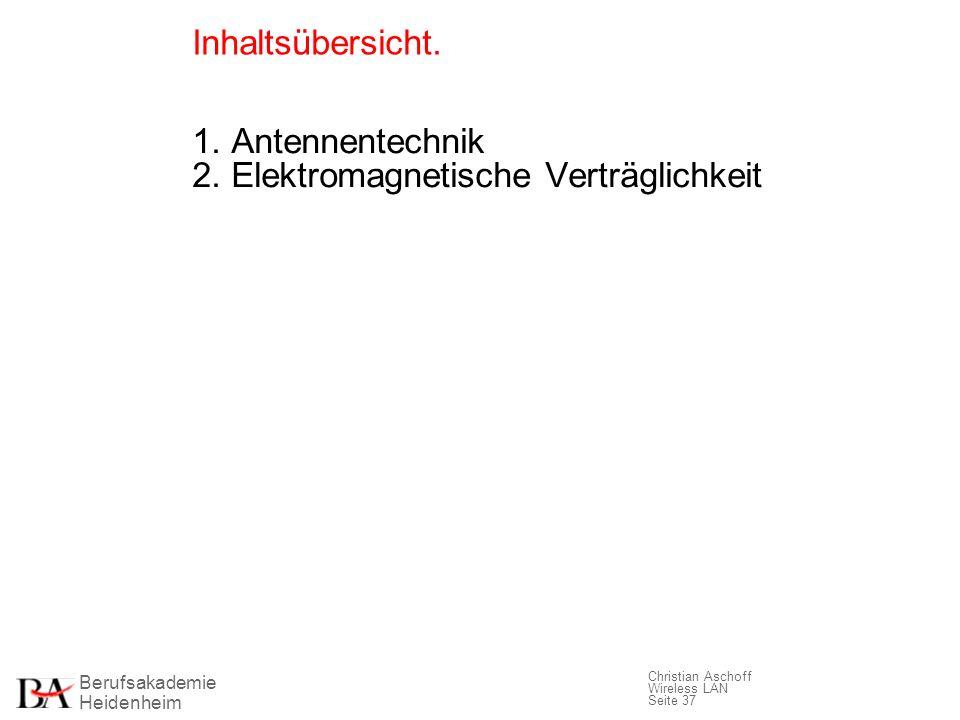 Inhaltsübersicht. 1. Antennentechnik 2. Elektromagnetische Verträglichkeit