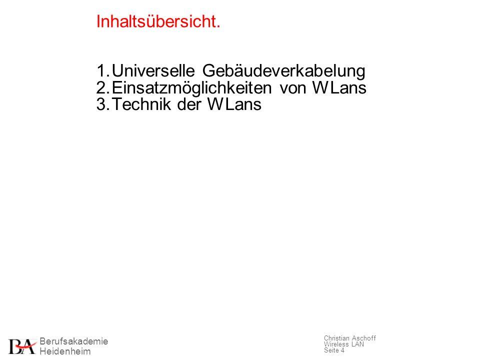 Inhaltsübersicht. 1. Universelle Gebäudeverkabelung.