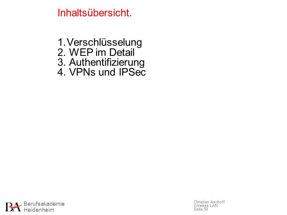 Inhaltsübersicht. 1. Verschlüsselung 2. WEP im Detail 3. Authentifizierung 4. VPNs und IPSec