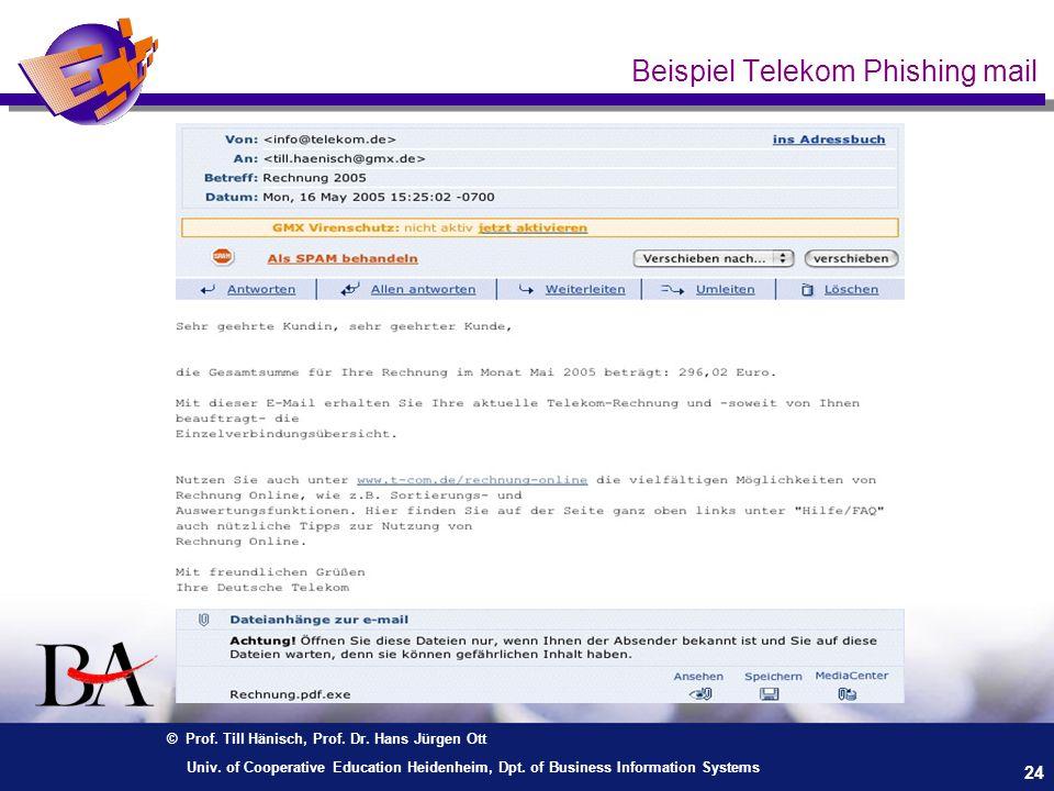 Beispiel Telekom Phishing mail