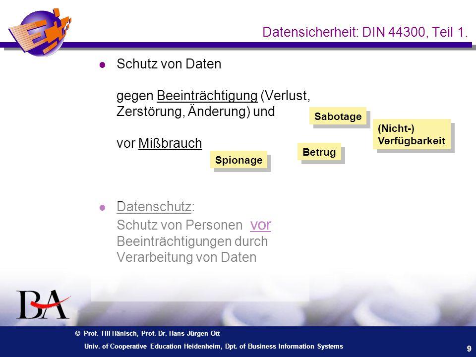 Datensicherheit: DIN 44300, Teil 1.