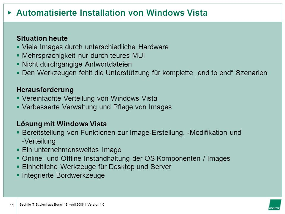 Automatisierte Installation von Windows Vista