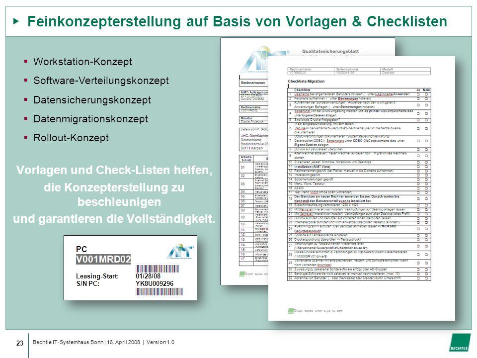 Feinkonzepterstellung auf Basis von Vorlagen & Checklisten