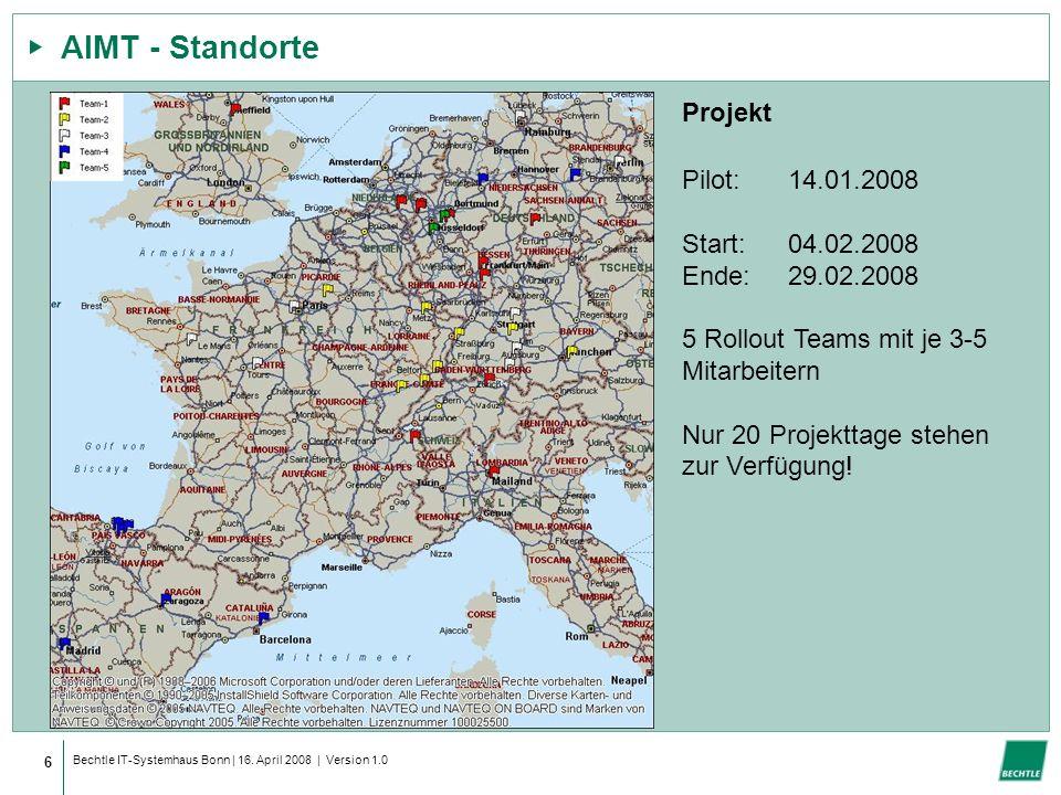 AIMT - Standorte Projekt Pilot: 14.01.2008 Start: 04.02.2008