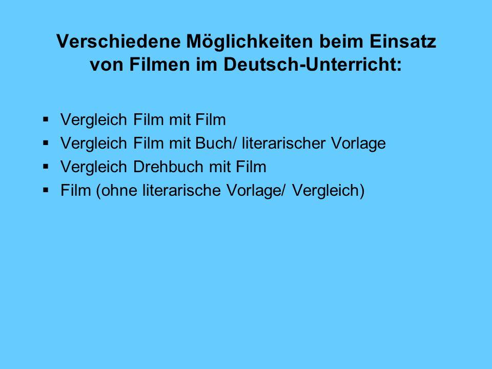Verschiedene Möglichkeiten beim Einsatz von Filmen im Deutsch-Unterricht: