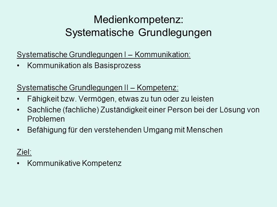 Medienkompetenz: Systematische Grundlegungen