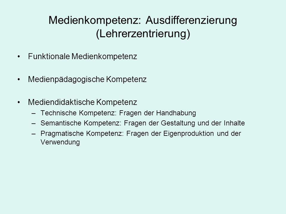 Medienkompetenz: Ausdifferenzierung (Lehrerzentrierung)