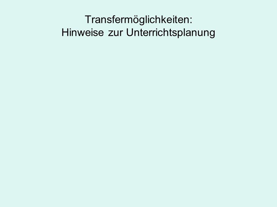 Transfermöglichkeiten: Hinweise zur Unterrichtsplanung