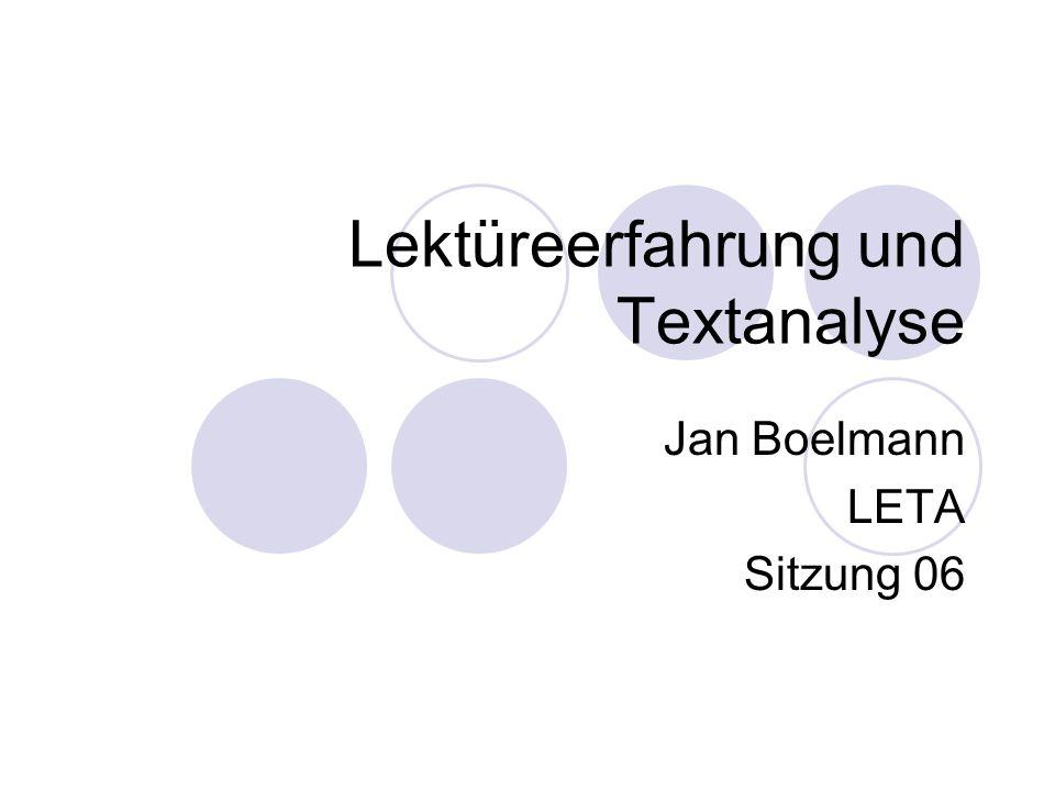 Lektüreerfahrung und Textanalyse