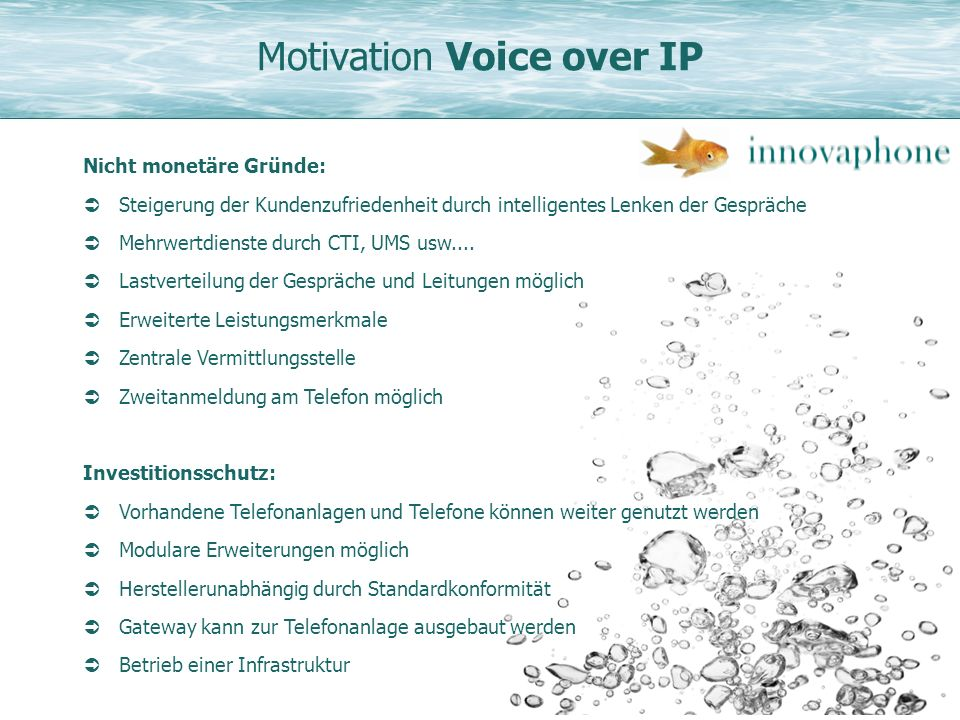Motivation Voice over IP
