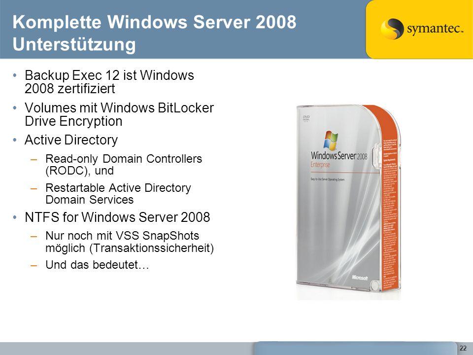 Komplette Windows Server 2008 Unterstützung