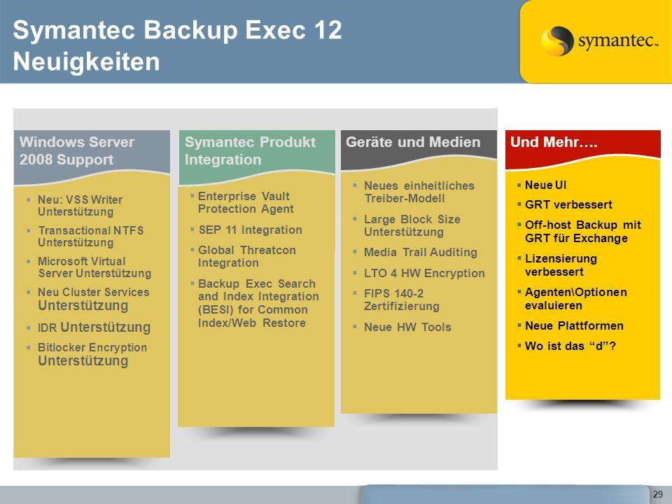 Symantec Backup Exec 12 Neuigkeiten