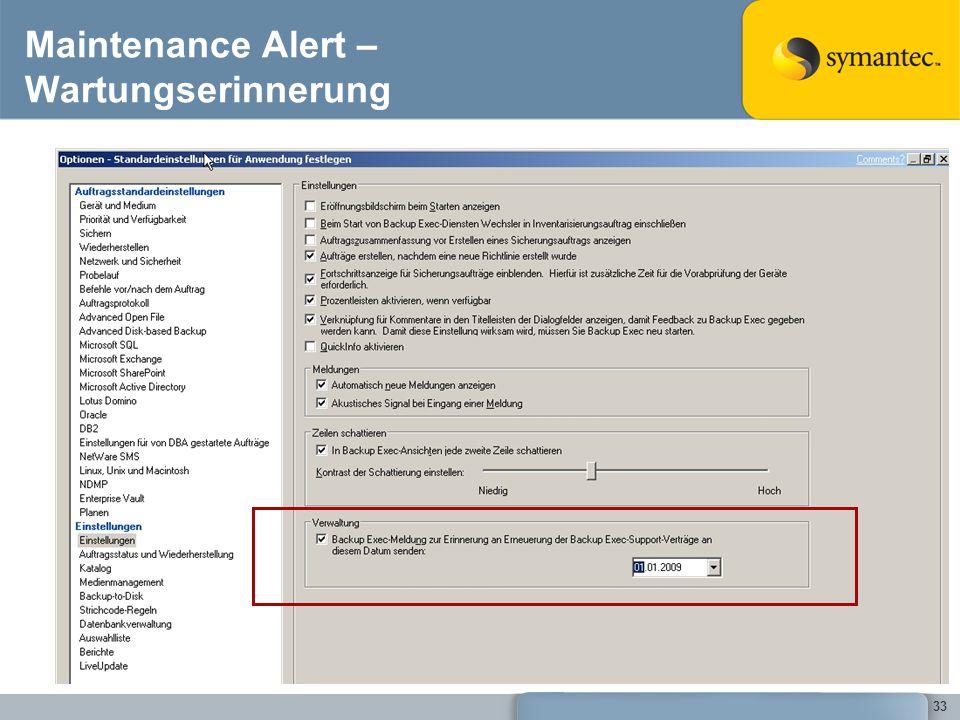 Maintenance Alert – Wartungserinnerung
