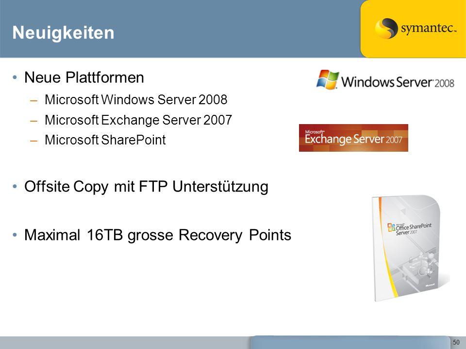 Neuigkeiten Neue Plattformen Offsite Copy mit FTP Unterstützung
