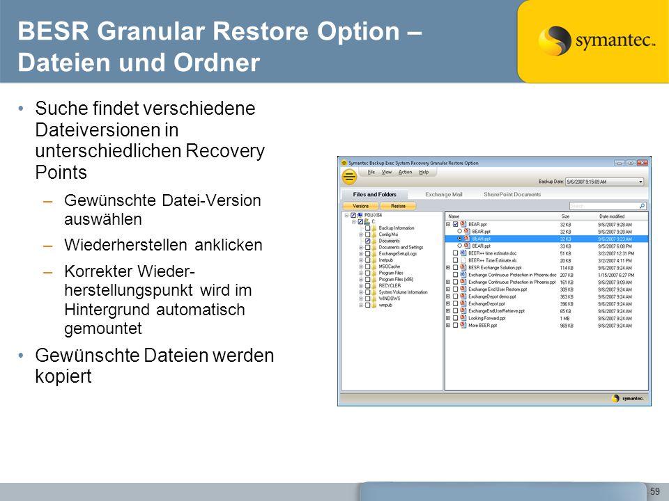 BESR Granular Restore Option – Dateien und Ordner