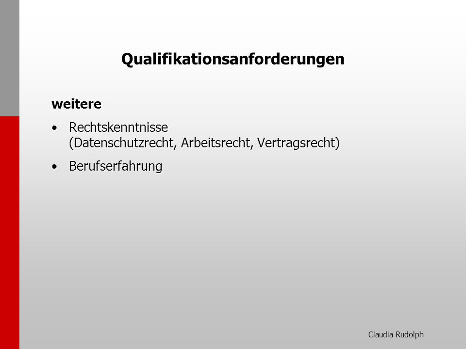 Qualifikationsanforderungen