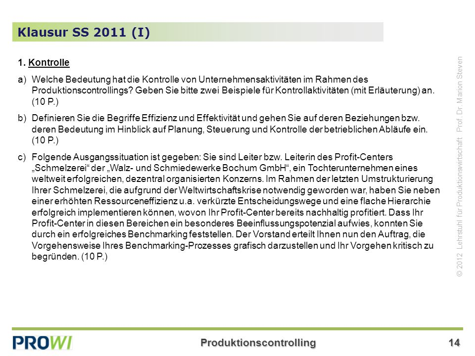 Klausur SS 2011 (I) 1. Kontrolle