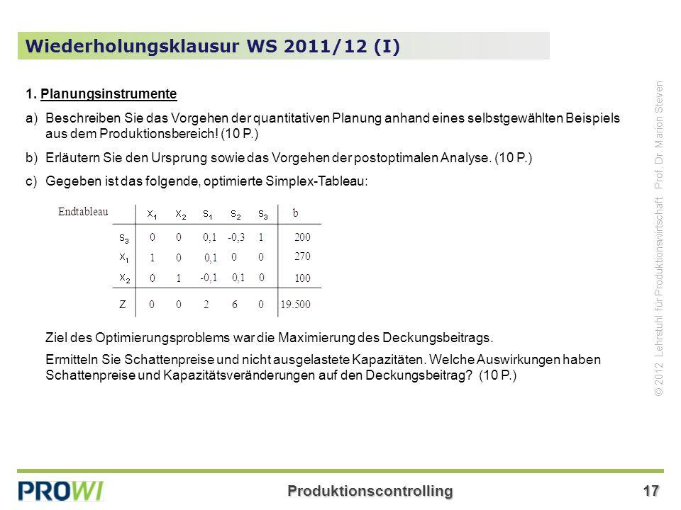 Wiederholungsklausur WS 2011/12 (I)