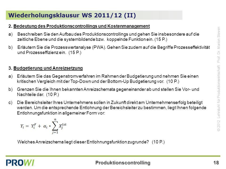 Wiederholungsklausur WS 2011/12 (II)