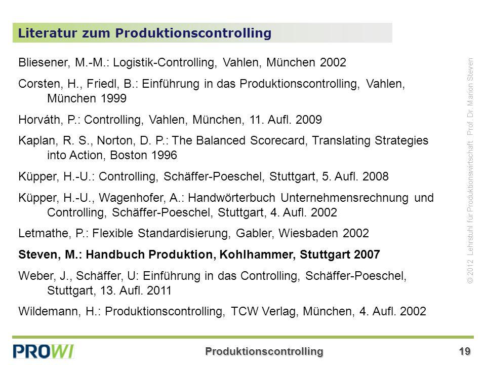 Literatur zum Produktionscontrolling