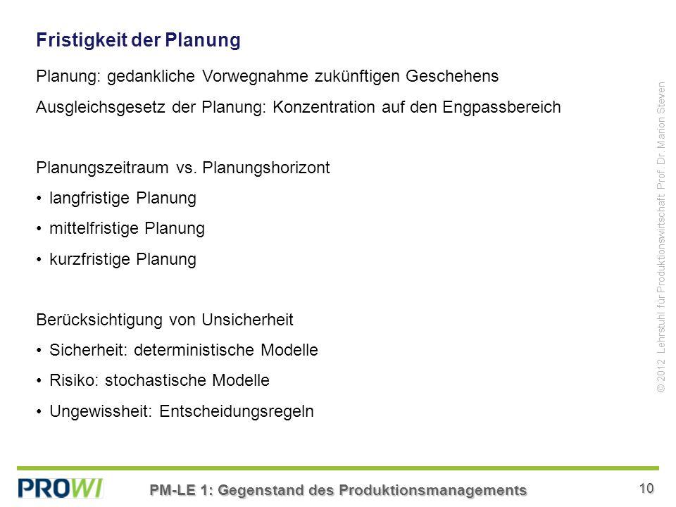 Fristigkeit der Planung
